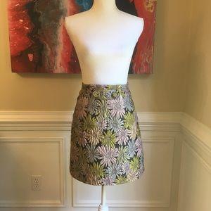 CYNTHIA ROWLEY Metallic Floral Skirt Sz.4